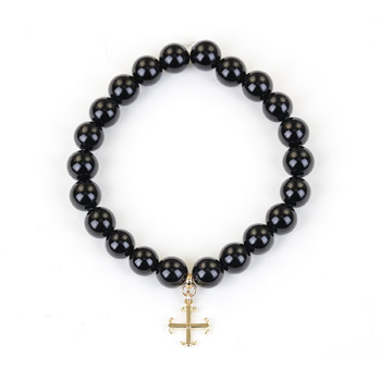 onyx small goddess bracelet with english cross
