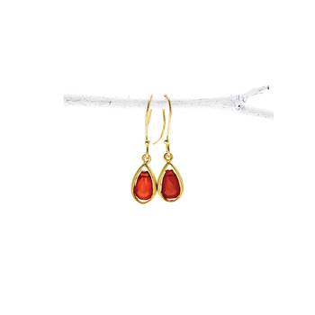carnelian teardrop healing gem gold dipped earrings