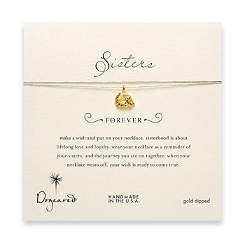 sorority sisters forever make a wish necklace with gold dipped royal lion on taupe thread
