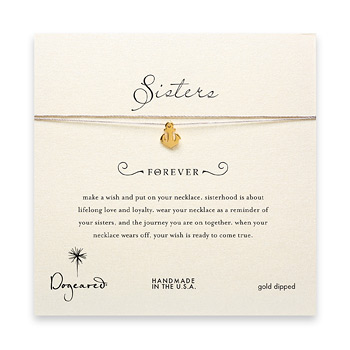 sorority sisters forever make a wish necklace with gold dipped smooth anchor on taupe thread