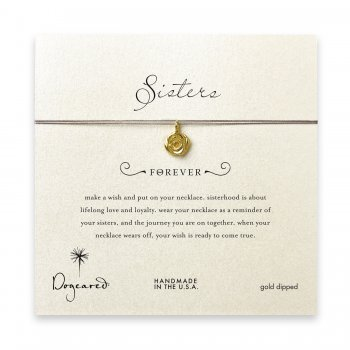 sorority+sisters+forever+make+a+wish+necklace+with+gold+dipped+rose+on+taupe+thread