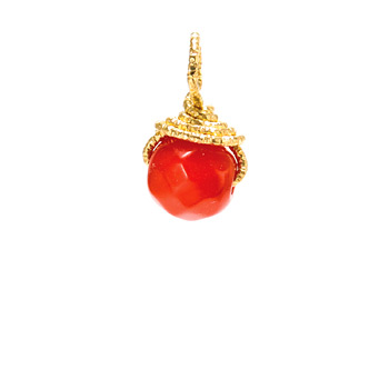 red coral round gem, gold dipped