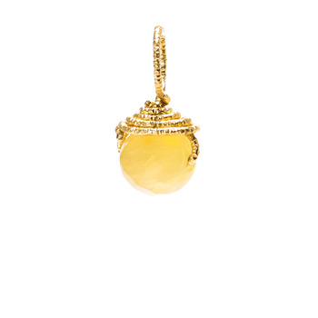 yellow jade round gem, gold dipped