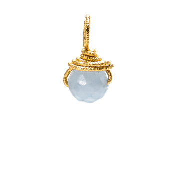angelite round gem, gold dipped