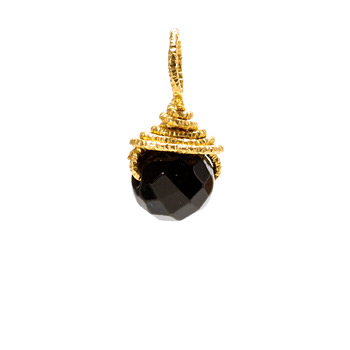 black onyx round gem, gold dipped