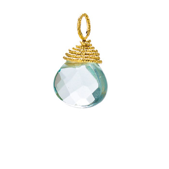 blue quartz briolette gem, gold dipped