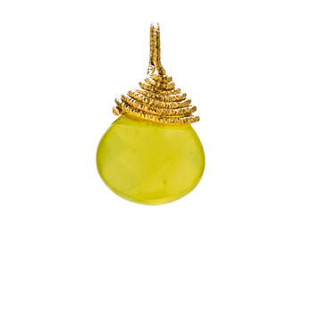 olive quartz briolette gem, gold dipped