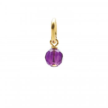 amethyst round faceted gem, gold dipped