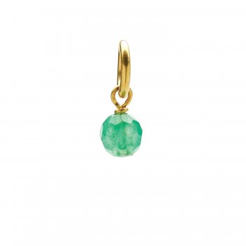 aventurine round faceted gem, gold dipped