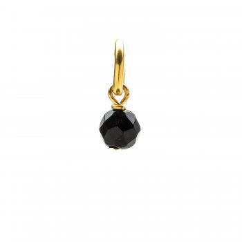 black onyx round faceted gem, gold dipped