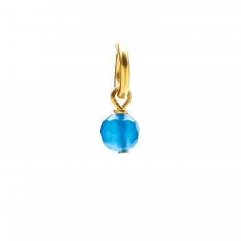 blue onyx round faceted gem, gold dipped