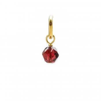 garnet round faceted gem, gold dipped