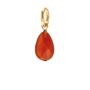 carnelian teardrop gem, gold dipped