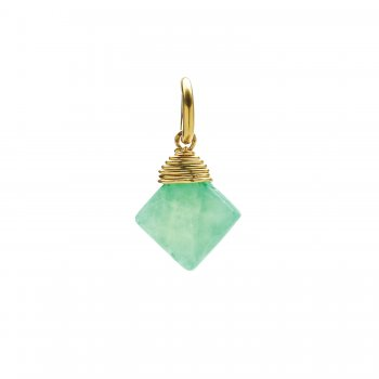 hemimorphite gem faceted diamond cut, gold dipped