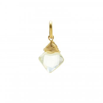 lemon quartz gem faceted diamond cut, gold dipped