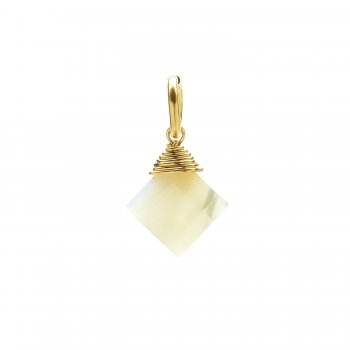 mother of pearl gem faceted diamond cut, gold dipped
