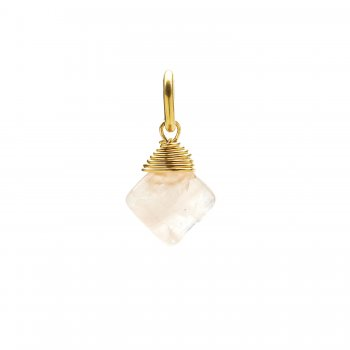 rose quartz gem faceted diamond cut, gold dipped
