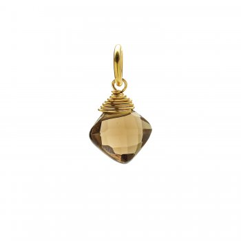 smoky quartz gem faceted diamond cut, gold dipped