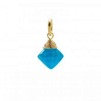 turquoise gem faceted diamond cut, gold dipped