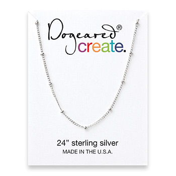 create beaded chain, sterling silver - 24 inches