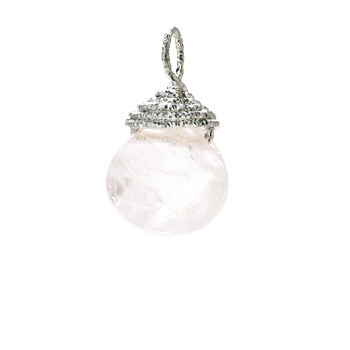 rose quartz briolette gem, sterling silver
