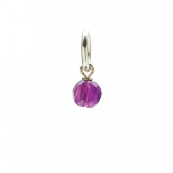 amethyst round faceted gem, sterling silver