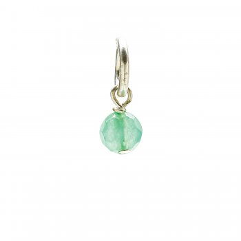 aventurine round faceted gem, sterling sliver