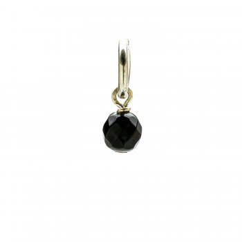 black onyx round faceted gem, sterling silver