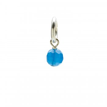 blue onyx round faceted gem, sterling silver