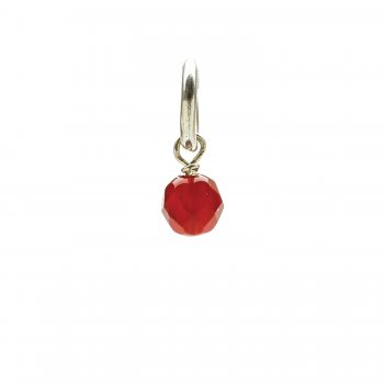 carnelian round faceted gem, sterling silver