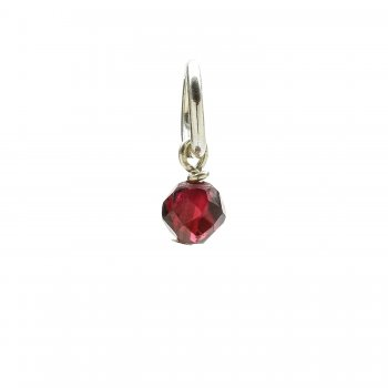 garnet round faceted gem, sterling silver