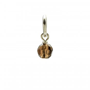 smoky quartz round faceted gem, sterling silver