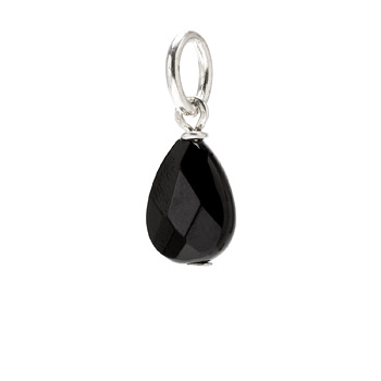 black onyx teardrop gem, sterling silver
