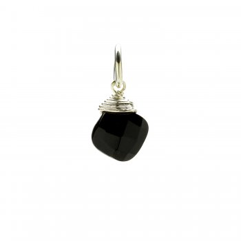 black onyx gem faceted diamond cut, sterling silver