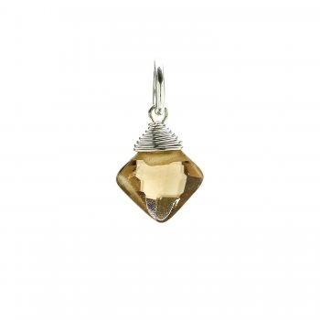 smoky quartz gem faceted diamond cut, sterling silver