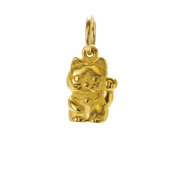 lucky+cat+charm%2C+gold+dipped