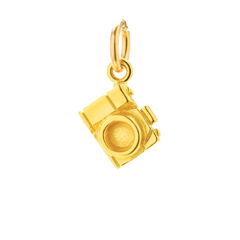 camera charm, gold dipped