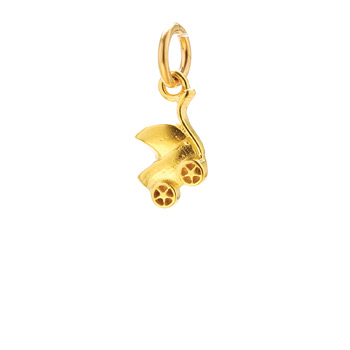 baby carriage charm, gold dipped