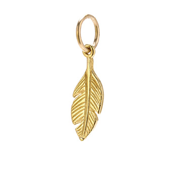 feather charm, gold dipped