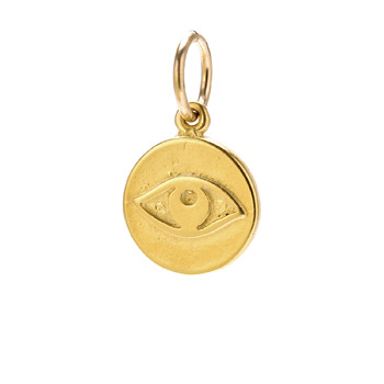 eye charm, gold dipped