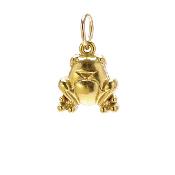 frog charm, gold dipped