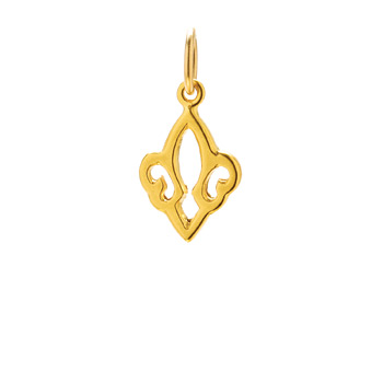 open fleur de lis charm, gold dipped