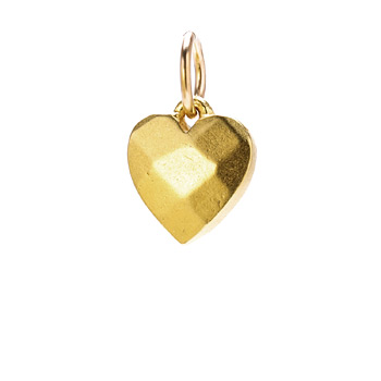faceted heart charm, gold dipped
