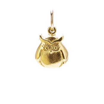 owl charm, gold dipped