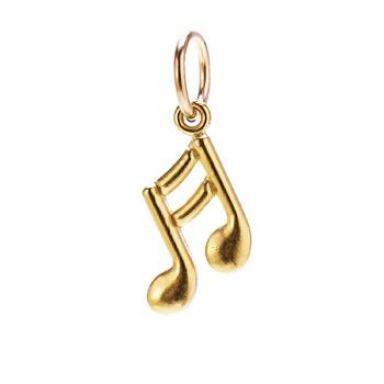 double note charm, gold dipped