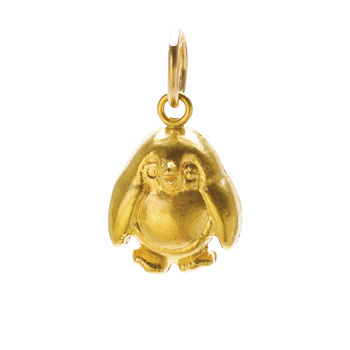 penguin charm, gold dipped