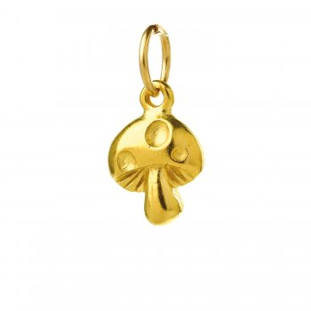 mushroom charm, gold dipped