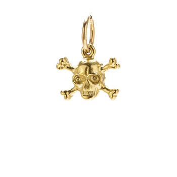 skull &amp; crossbones charm, gold dipped