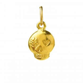 flower skull charm, gold dipped