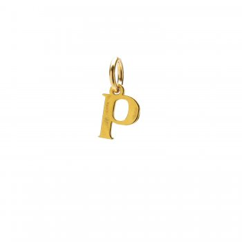 open p charm, gold dipped